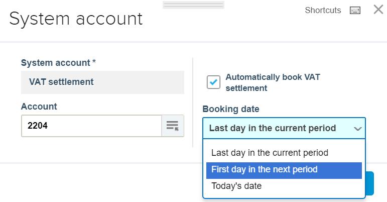 VAT Settlement account