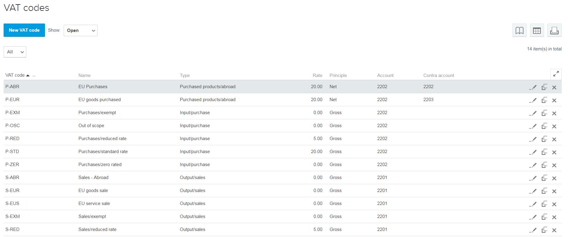VAT codes screenshot