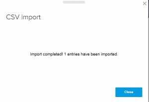 import completed window