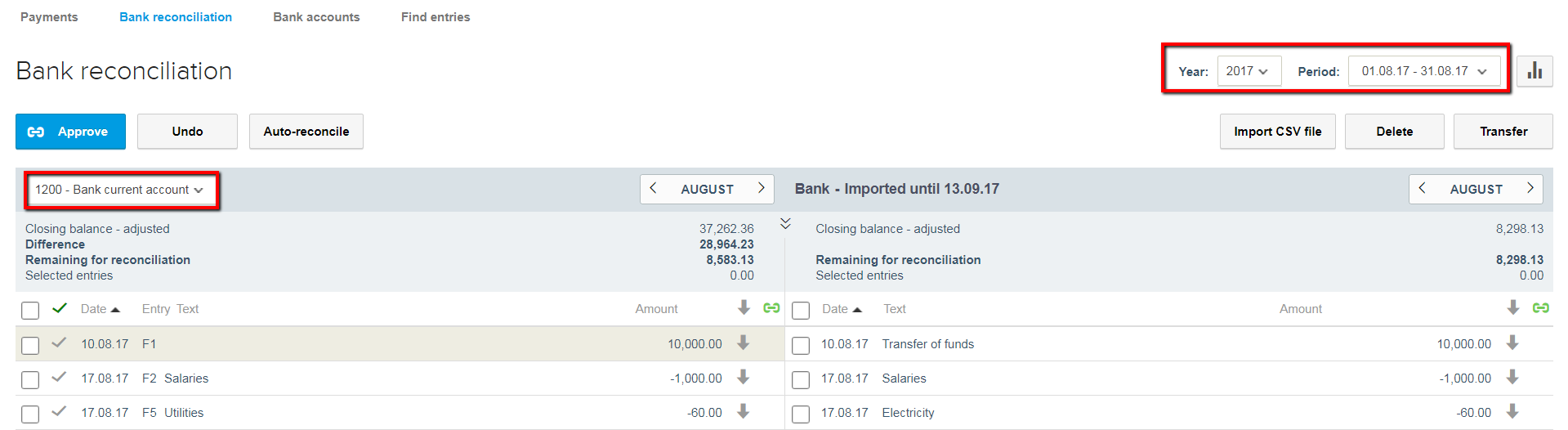 bank reconciliation - choose date and bank account in reviso