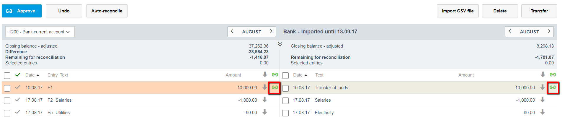 bank reconciliation and matching entries
