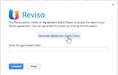 Reviso pop up to enter token for google sheet
