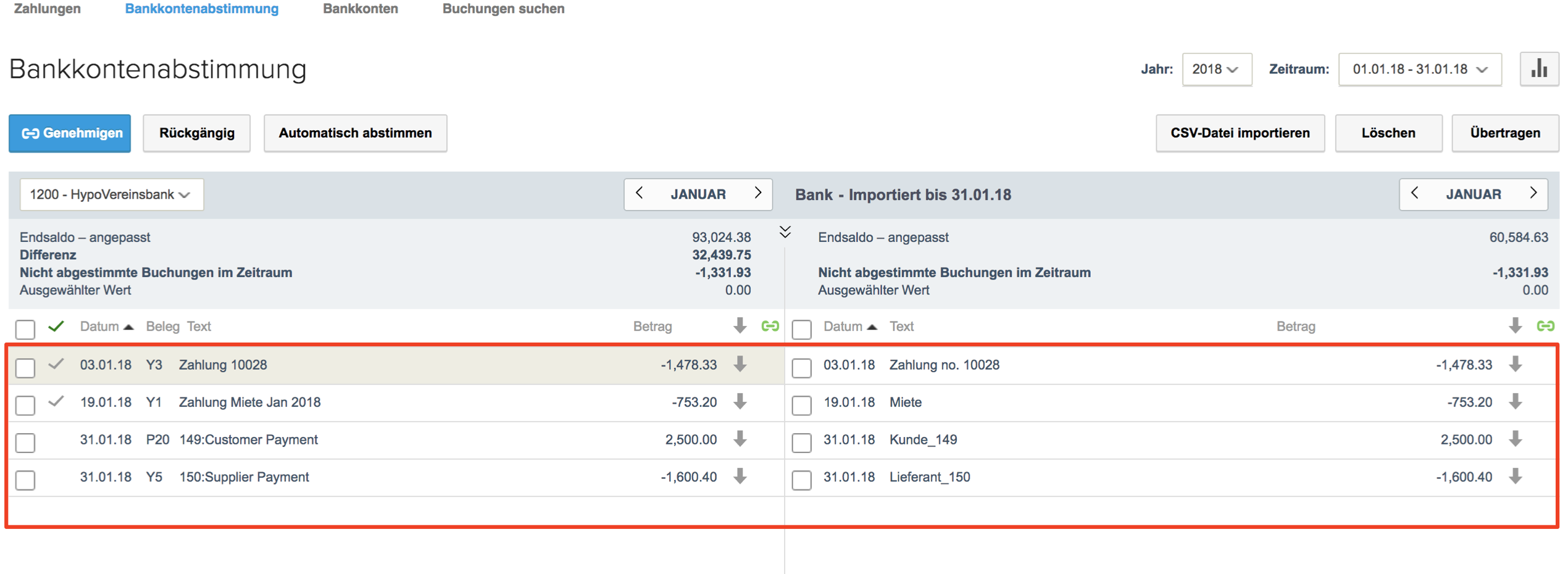 bankkontenabstimmung nach dem import